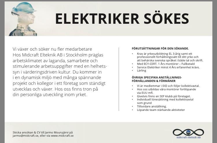 Annons Elektriker